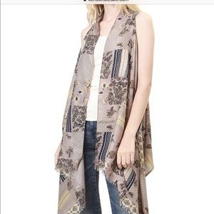 Accessories - Taupe Long Patchwork Waterfall Scarf Vest Shawl